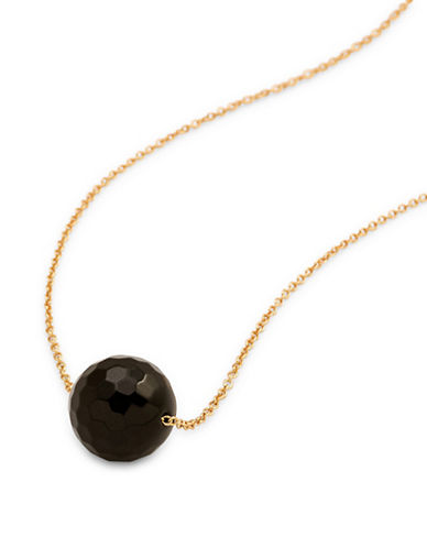 Gorjana Power Gemstone Black Onyx Pendant Necklace-GOLD-One Size