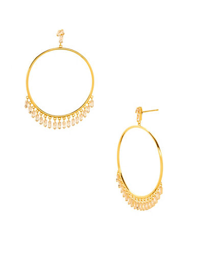 Gorjana Amara Crystal Drop Hoop Earrings-GOLD-One Size