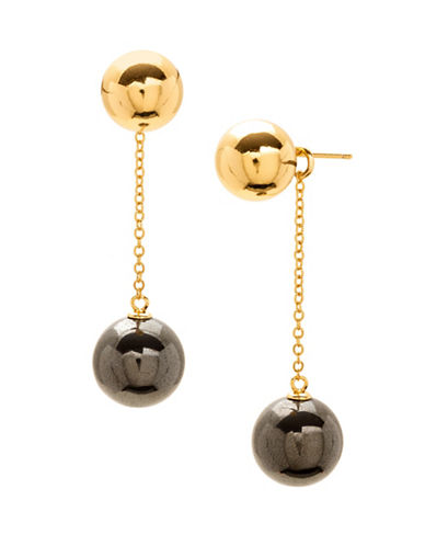Gorjana Newport Hematite Double Drop Earrings-HEMATITE-One Size