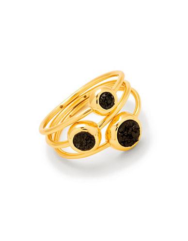 Gorjana Set of Three Astoria 18K Goldplated Round Stackable Rings-BLACK-8