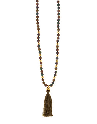 Gorjana Hannah Druzy Tassel Statement Necklace-GREEN-One Size