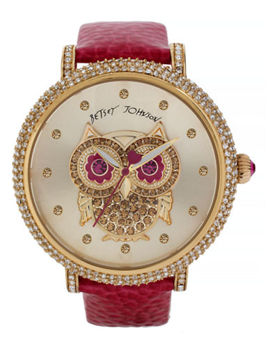 Betsey Johnson Womens Owl Motif Dial and Fuchsia Strap Watch Standard BJ0039606-PINK-One Size
