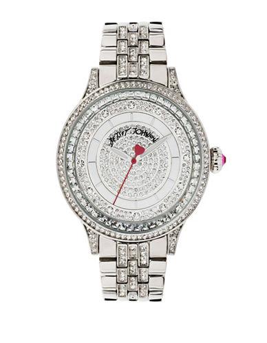 Betsey Johnson Silvertone Pave Crystal Bracelet Watch-SILVER-One Size