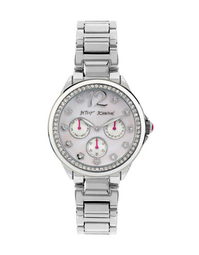 Betsey Johnson Chronograph Pave Silver-Tone Bracelet Watch-SILVER-One Size