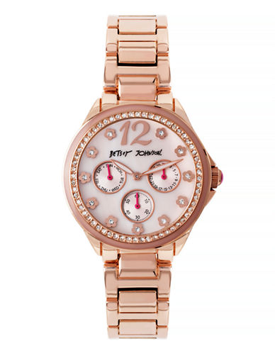 Betsey Johnson Chronograph Pave Rose-Goldtone Bracelet Watch-ROSE GOLD-One Size