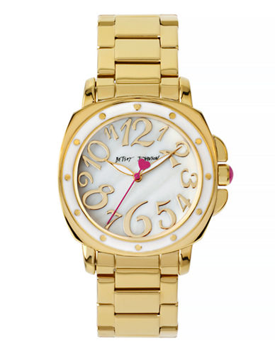 Betsey Johnson Analog Mother of Pearl Goldtone Bracelet Watch-GOLD-One Size