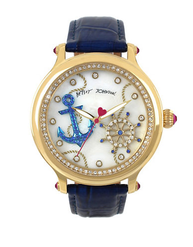 Betsey Johnson Anchor Motif Dial and Leather Strap Watch-BLUE-One Size