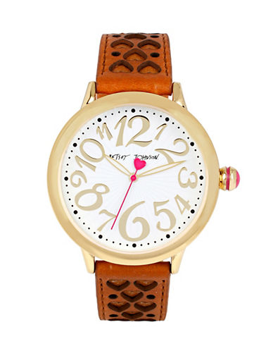 Betsey Johnson Analog Cut-Out Heart Watch-BROWN-One Size