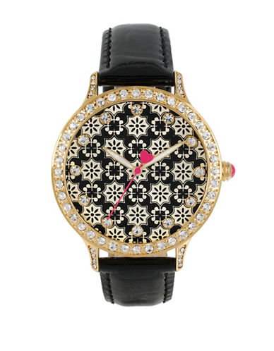 Betsey Johnson Goldtone Crystal Printed Dial Leather Strap Watch-BLACK-One Size