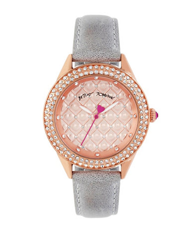 Betsey Johnson Rose Goldtone Crystal Accent Leather Strap Watch-GREY-One Size