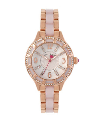 Betsey Johnson Analog Rose Goldtone Embellished Watch-ROSE GOLD-One Size