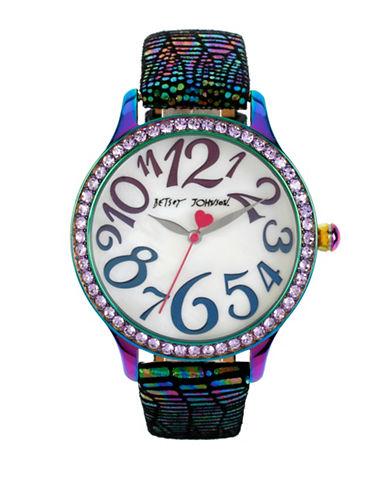 Betsey Johnson Analog Rainbow Watch-MULTI-One Size