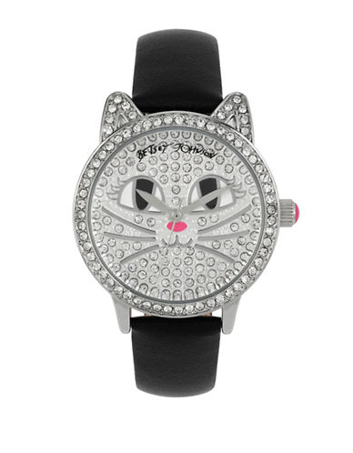 Betsey Johnson Analog Pave Cat Watch-BLACK-One Size