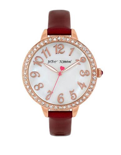 Betsey Johnson Analog Embellished Rose Goldtone Watch-RED-One Size