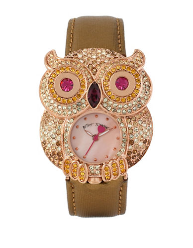 Betsey Johnson Analog Embellished Owl Watch-GREEN-One Size