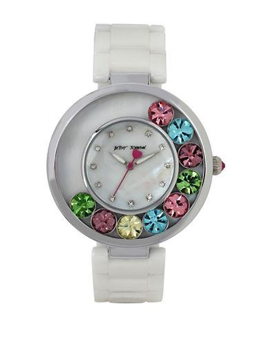 Betsey Johnson Floating Multi-Colored Stone Case and Ceramic Bracelet Watch-WHITE-One Size