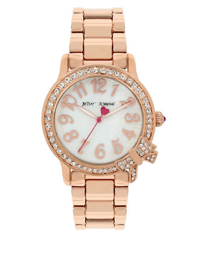 Betsey Johnson Rose Goldtone Stainless Steel Link Bracelet Watch-ROSE GOLD-One Size