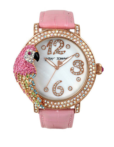 Betsey Johnson Pave Parrot Case and Leather Strap Watch-PINK-One Size