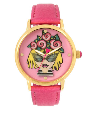 Betsey Johnson Goldtone Metal Lenticular Printed Roses Emoji Motif Watch-MULTI-One Size