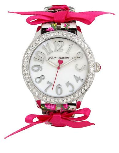 Betsey Johnson Woven Ribbon Silvertone Metal Stripe Floral Printed Strap Watch-MULTI-One Size