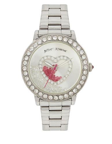 Betsey Johnson Shaky Stone Heart Motif Silvertone Metal Link Bracelet Watch-SILVER-One Size
