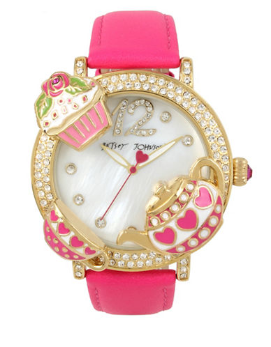 Betsey Johnson Tea Party Goldtone Metal Pink Leather Strap Watch-PINK-One Size