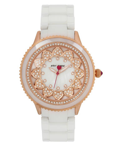Betsey Johnson Layered Heart Rose Goldtone Metal White Ceramic Link Bracelet Watch-WHITE-One Size