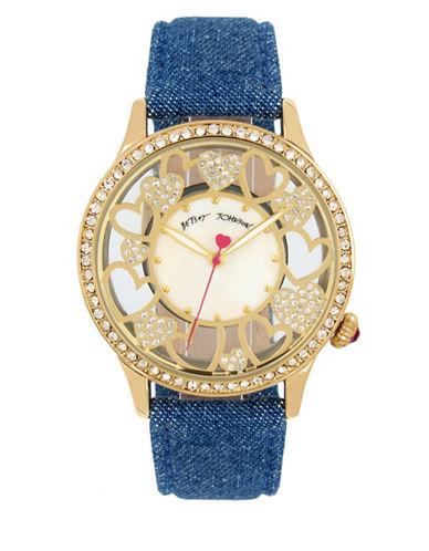 Betsey Johnson Multi Heart Motif Goldtone Metal Blue Denim Strap Watch-BLUE-One Size
