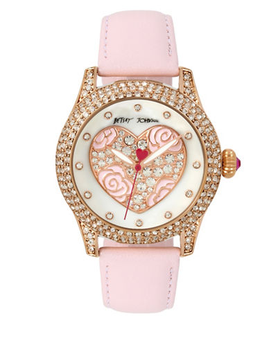 Betsey Johnson Rose Heart Motif Rose Goldtone Stainless Steel Pink Leather Strap Watch-PINK-One Size