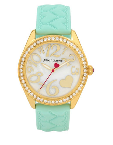 Betsey Johnson Goldtone Stainless Steel Aqua Silicone Strap Watch-MINT-One Size