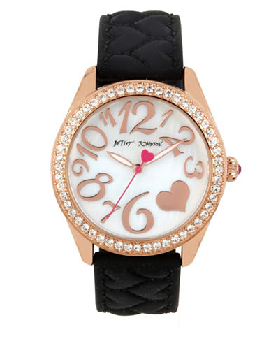 Betsey Johnson Goldtone Stainless Steel Black Silicone Strap Watch-BLACK-One Size