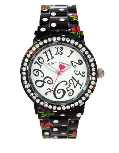 Betsey Johnson Cherry Printed Polka Dot Metal Link Bracelet Watch-MULTI-One Size