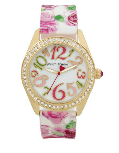 Betsey Johnson Goldtone Metal Floral Print Silicone Strap Watch-MULTI-One Size