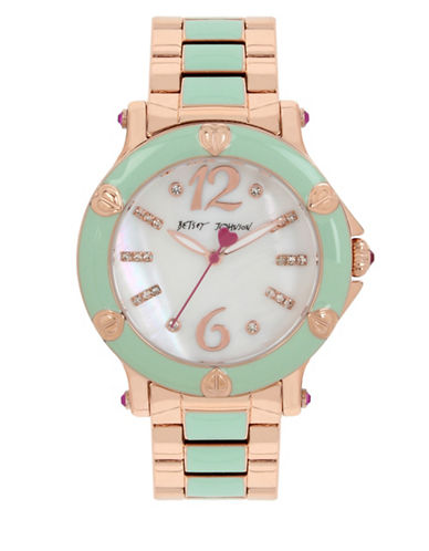 Betsey Johnson Mint Green Rose Goldtone Link Bracelet Watch-MULTI-One Size