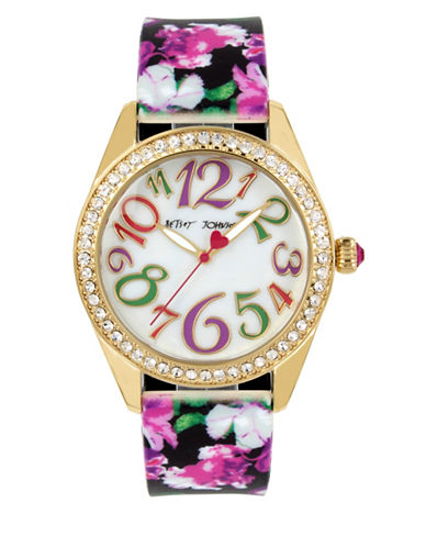 Betsey Johnson Goldtone Stainless Steel Multi-Colored Floral Printed Silicon Strap Watch-MULTI-One Size