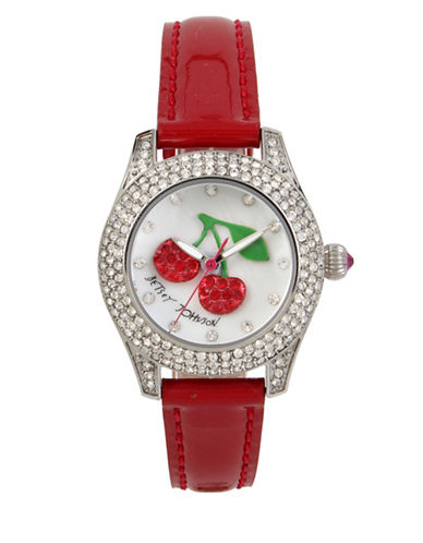 Betsey Johnson Cherry Motif Dial Stainless Steel Red Leather Strap Watch-RED-One Size