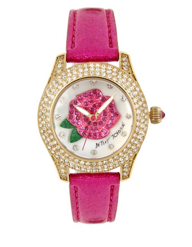 Betsey Johnson Rose Motif Dial Stainless Steel Fuchsia Leather Strap Watch-PINK-One Size