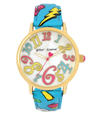 Betsey Johnson Goldtone Stainless Steel Emoji Print Strap Watch-MULTI-One Size
