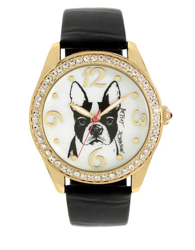 Betsey Johnson French Bulldog Motif Dial Black Leather Strap Watch-BLACK-One Size
