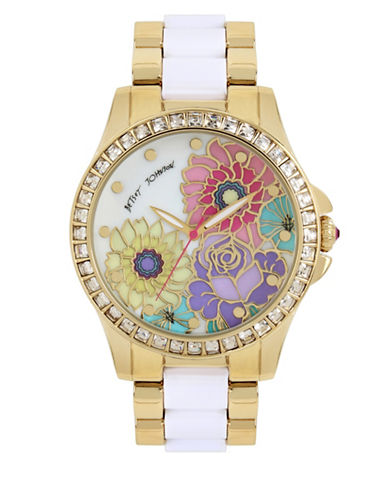 Betsey Johnson Two-Tone Stainless Steel Multi-Colored Floral Printed Dial Watch-ROSE GOLD-One Size