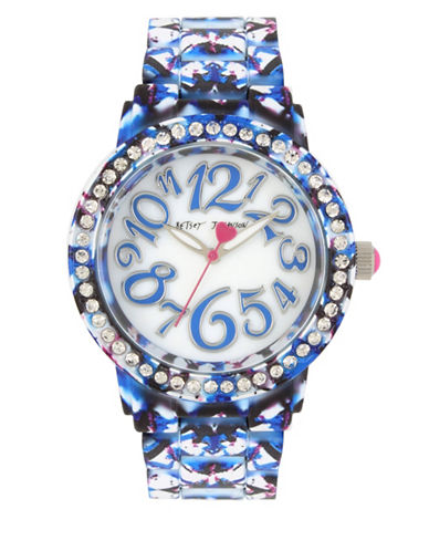 Betsey Johnson Blue Multi-Colored Printed Stainless Steel Link Bracelet Watch-BLUE-One Size