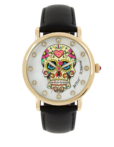Betsey Johnson Sugar Skull Motif Dial Goldtone Stainless Steel Black Leather Strap Watch-BLACK-One Size