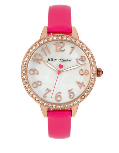 Betsey Johnson Rose Goldtone Stainless Steel Pink Leather Strap Watch-PINK-One Size