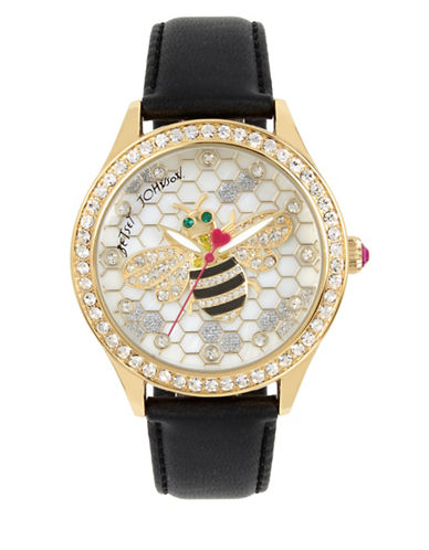 Betsey Johnson Bumble Bee Motif Goldtone Stainless Steel Black Leather Strap Watch-BLACK-One Size