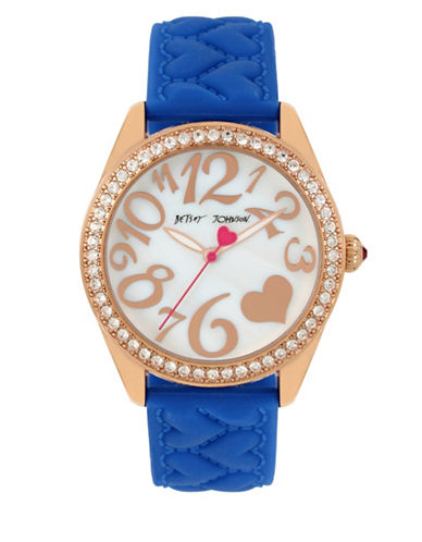 Betsey Johnson Rose Goldtone Stainless Steel Blue Heart Textured Silicon Strap Watch-BLUE-One Size