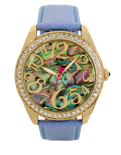 Betsey Johnson Abalone Dial Goldtone Stainless Steel Leather Strap Watch-MULTI-One Size