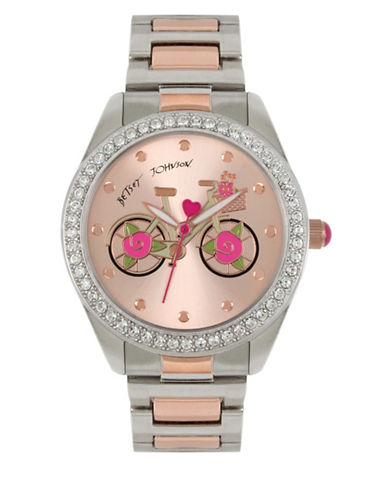 Betsey Johnson Two-Toned Stainless Steel Link Bracelet Watch-MULTI-One Size