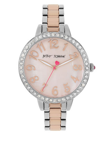 Betsey Johnson Two-Tone Stainless Steel Link Bracelet Watch-MULTI-One Size
