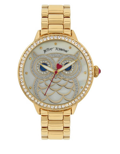 Betsey Johnson Glitter Owl Motif Dial Goldtone Stainless Steel Link Bracelet Watch-ROSE GOLD-One Size