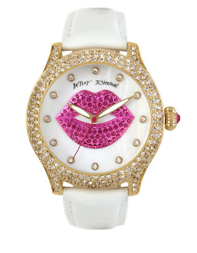 Betsey Johnson Analog Lips & Pearlized White Leather Strap Watch-WHITE-One Size